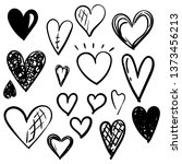 set of doodles hearts. grunge... | Shutterstock .eps vector #1373456213