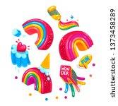 rainbow wonderland kids cartoon ... | Shutterstock .eps vector #1373458289