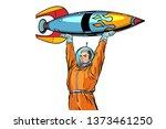 astronaut and vintage rocket... | Shutterstock . vector #1373461250