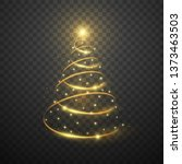 golden christmas tree on dark... | Shutterstock .eps vector #1373463503