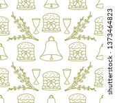 seamless pattern with easter... | Shutterstock .eps vector #1373464823