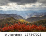 Scenic Autumn Blue Ridge Parkway Fall Foliage Crepuscular Light Rays travel and vacation destination - stock photo