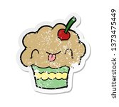 distressed sticker of a cartoon ...   Shutterstock . vector #1373475449