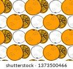 orange fruit seamless pattern... | Shutterstock .eps vector #1373500466