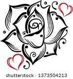 big tattoo rose with hearts.... | Shutterstock .eps vector #1373504213