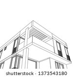 modern house architecture 3d... | Shutterstock .eps vector #1373543180