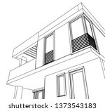 modern house architecture 3d... | Shutterstock .eps vector #1373543183