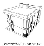 modern house architecture 3d... | Shutterstock .eps vector #1373543189