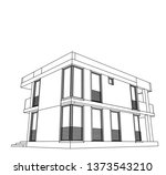 modern house architecture 3d... | Shutterstock .eps vector #1373543210