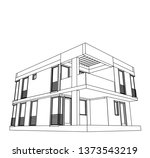 modern house architecture 3d... | Shutterstock .eps vector #1373543219