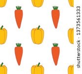carrot and pepper seamless... | Shutterstock .eps vector #1373561333