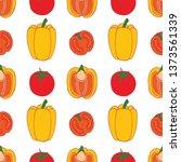 pepper and tomato seamless... | Shutterstock .eps vector #1373561339
