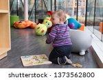 horizontal shot of cute fair... | Shutterstock . vector #1373562800