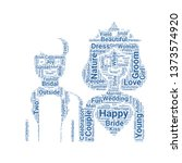 bride and groom word cloud. tag ... | Shutterstock .eps vector #1373574920