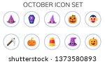 october icon set. 10 flat...   Shutterstock .eps vector #1373580893