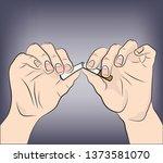 hands breaking a cigarette.... | Shutterstock .eps vector #1373581070
