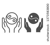 hands holding yin yang line and ... | Shutterstock .eps vector #1373583800