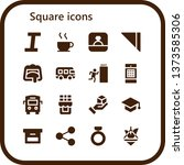 square icon set. 16 filled... | Shutterstock .eps vector #1373585306