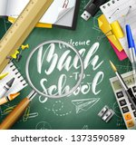 welcome back to school.... | Shutterstock .eps vector #1373590589