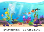 beautiful sea with coral  reef  ... | Shutterstock .eps vector #1373595143