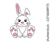 cute cartoon baby bunny. hand... | Shutterstock .eps vector #1373608973