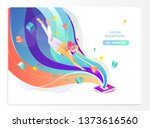 concept in flat style with man... | Shutterstock .eps vector #1373616560