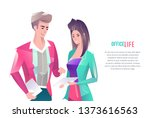 concept in flat style with... | Shutterstock .eps vector #1373616563