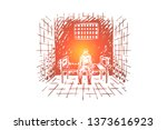 prisoner behind bars  inmate... | Shutterstock .eps vector #1373616923