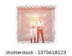 prisoner and prison guard... | Shutterstock .eps vector #1373618123