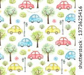 seamless pattern with cute... | Shutterstock . vector #1373625416