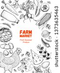 organic food illustration.... | Shutterstock .eps vector #1373635463