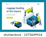isometric loading luggage at... | Shutterstock .eps vector #1373649416