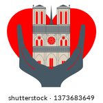 notre dame cathedral with a... | Shutterstock .eps vector #1373683649