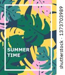colorful summer poster with... | Shutterstock .eps vector #1373703989
