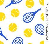 yellow tennis ball and blue ra... | Shutterstock .eps vector #1373718779