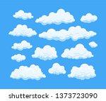 big set of cartoon clouds in... | Shutterstock . vector #1373723090