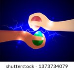 hands of two people with... | Shutterstock .eps vector #1373734079