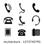telephone icon set. vector... | Shutterstock .eps vector #1373740790