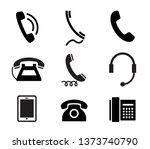 telephone icon set. vector... | Shutterstock .eps vector #1373740790