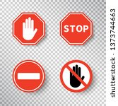 stop sign and no entry hand... | Shutterstock .eps vector #1373744663