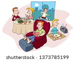 family and healthy life | Shutterstock .eps vector #1373785199
