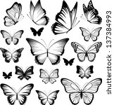 Set Of Butterflies Silhouettes...