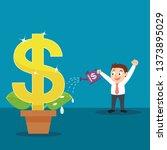 businessman watering big money... | Shutterstock .eps vector #1373895029