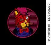 mafia kitty illustration | Shutterstock .eps vector #1373900210