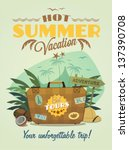 vintage summer vacation poster | Shutterstock .eps vector #137390708