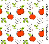 seamless hand drawn red apples... | Shutterstock .eps vector #1373911286