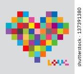 heart of color pixels. heart... | Shutterstock .eps vector #137391380