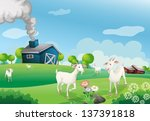 air,animal,barn,blue,bushes,clouds,crops,cultivated,drawing,environment,exhaust,exhaustion,farm,farmer,farming