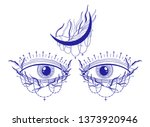 mystic eyes sight and moon... | Shutterstock .eps vector #1373920946