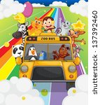 Illustration Of A Zoo Bus Full...